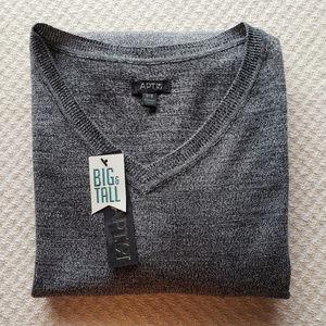 Apt. 9 Mens 3X Black V-neck Lightweight Sweater